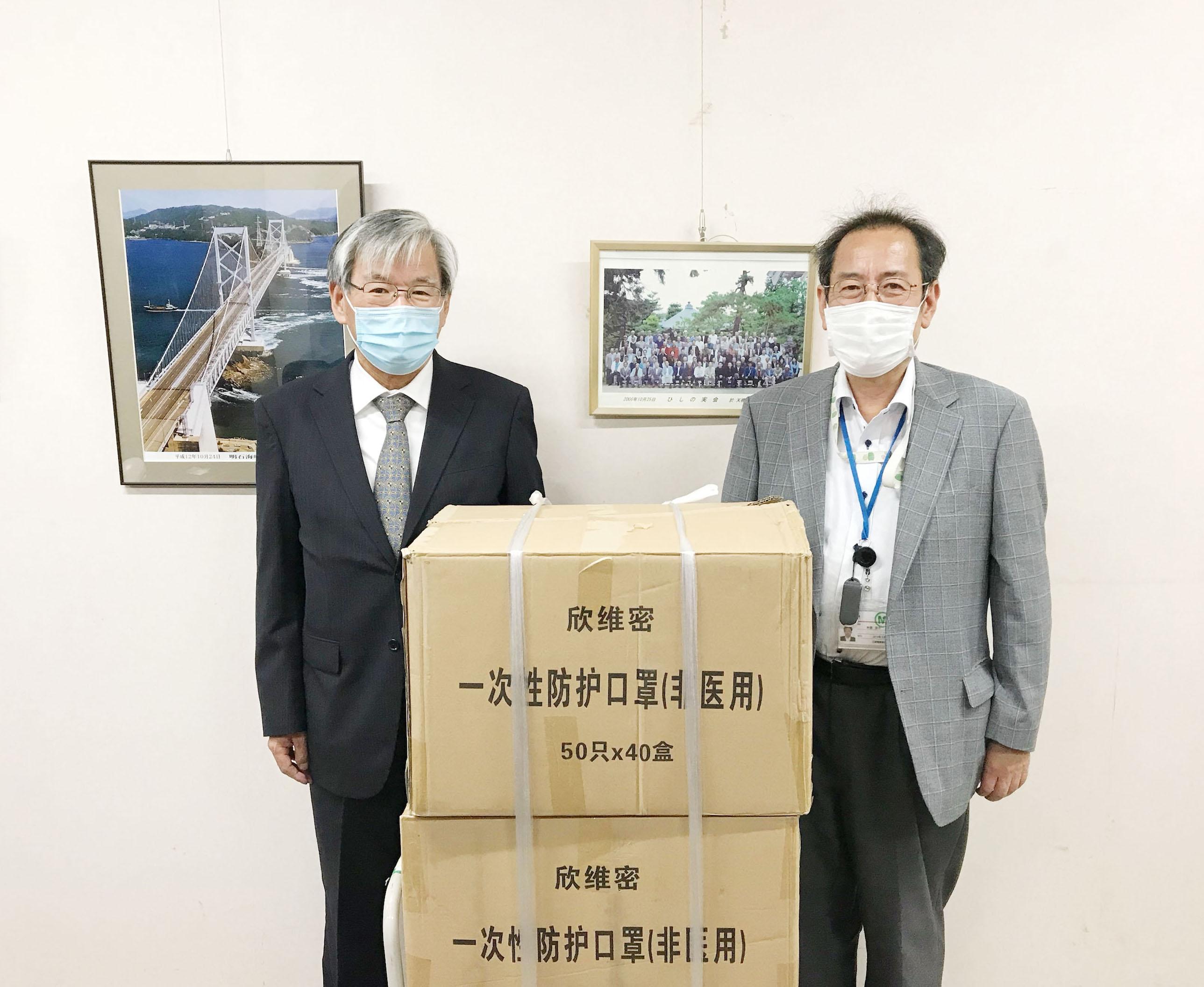 三菱電機株式会社 稲沢製作所様から頂いたマスクの画像です
