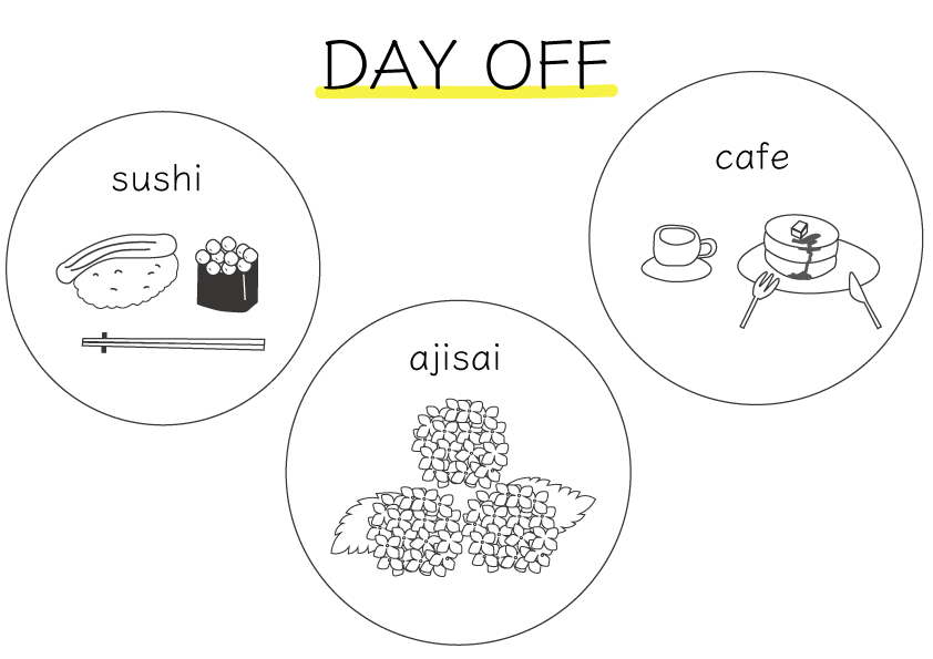 お寿司とカフェのイラスト