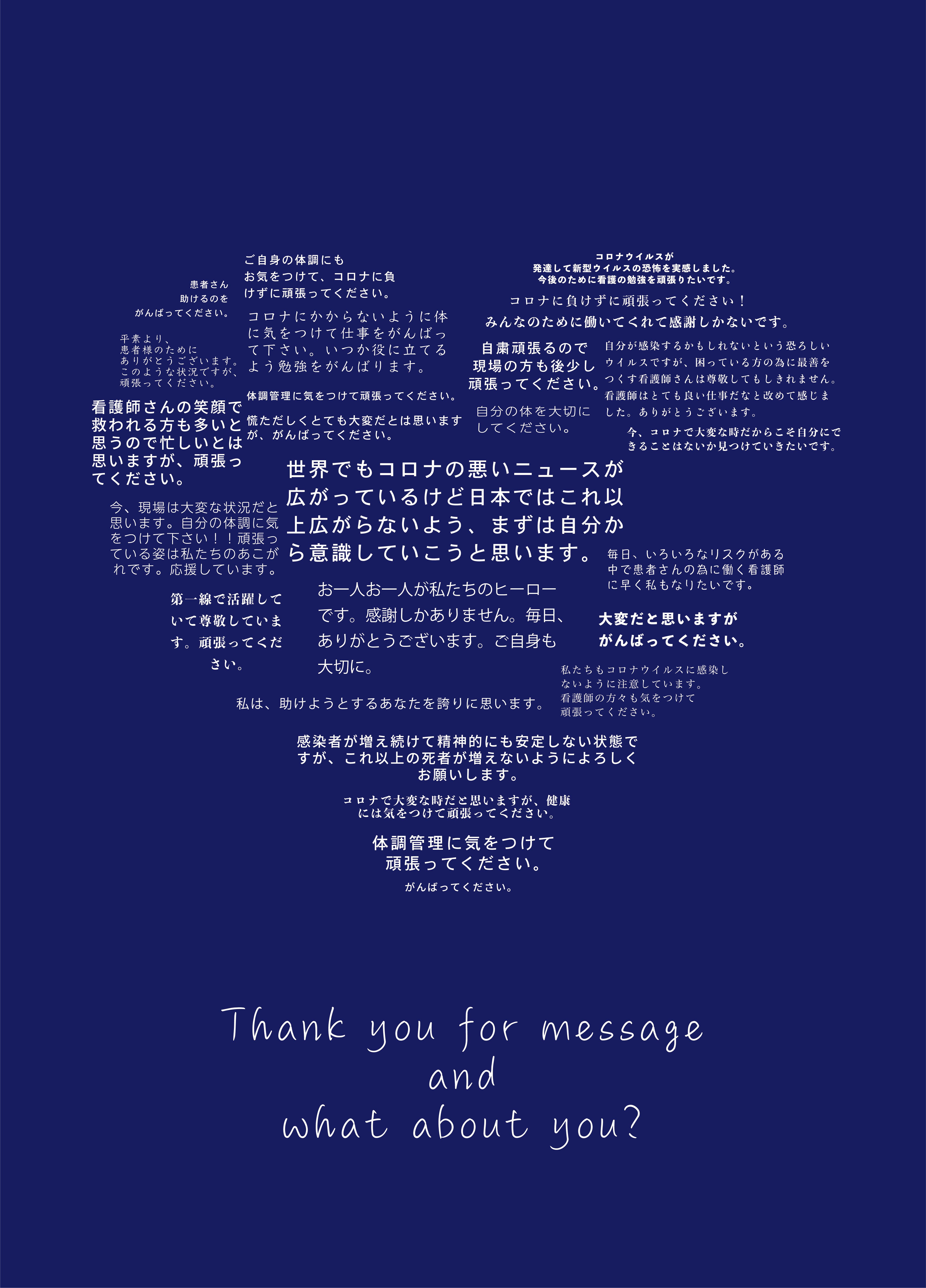 看護学生の方々のメッセージと市民の方のメッセージを集めたポスターを作成しました。